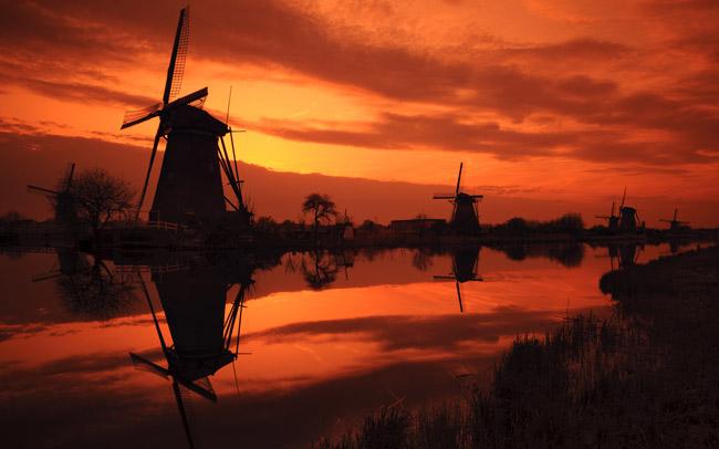 Molinos típicos de los Países Bajos